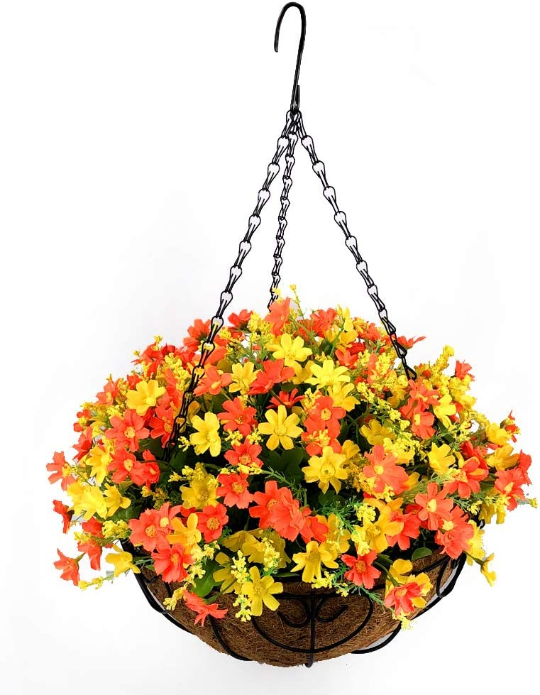 Homsunny Fall Flower Centerpieces, Hanging Flowers Basket, Artificial Daisies Flowers in Coconut Lining Hanging Baskets for The Decoration of Courtyard, Outdoors, and Indoors (Orange)