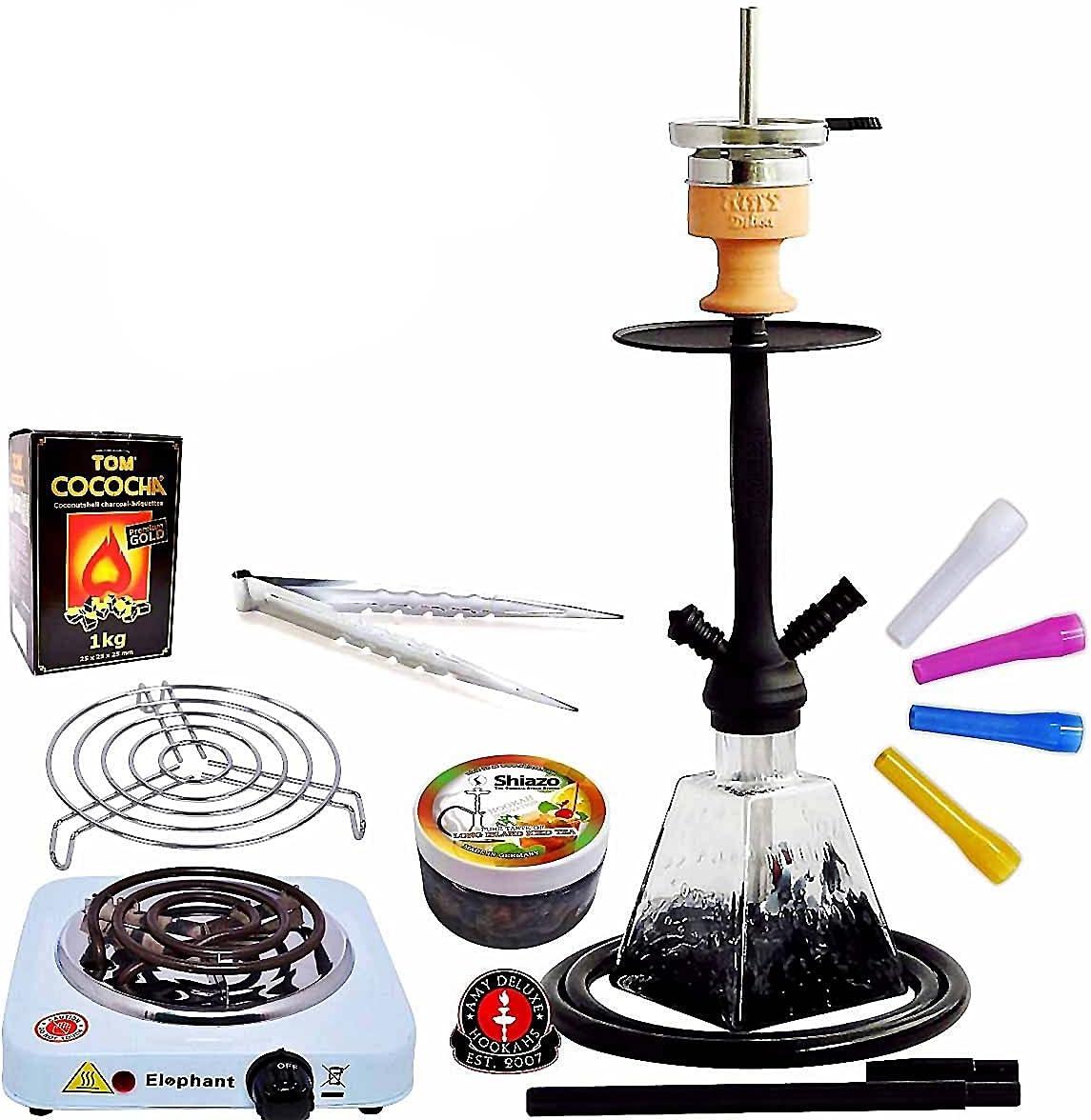 Amy Deluxe I need you 038 - Set de shisha con chimenea, 60 cm, de click, tubo de silicona, piedras de vapor Shiazo, encendedor de carbón TOM Cococha ...