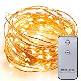 Kohree 20ft 120 LEDs Fairy Lights Copper Wire Lights - Starry Lights w/ Timer &Remote Controller, Rope Lights String Lights for Festival, Christmas, Wedding, Holiday and Party - Warm White, Battery Powere