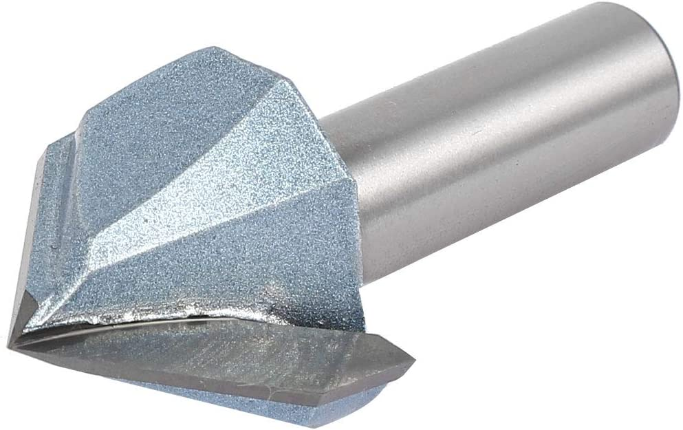 Tungsten Carbide Tipped V Grooving Bit Light Blue uxcell 90 Degree V-Groove Router Bit 1-1//4 Dia with 1//2 Shank