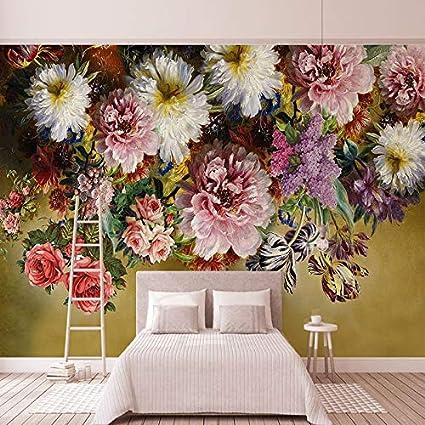Amazon.com: Stile europeo Retro Rose Murale Wallpaper 3D ...