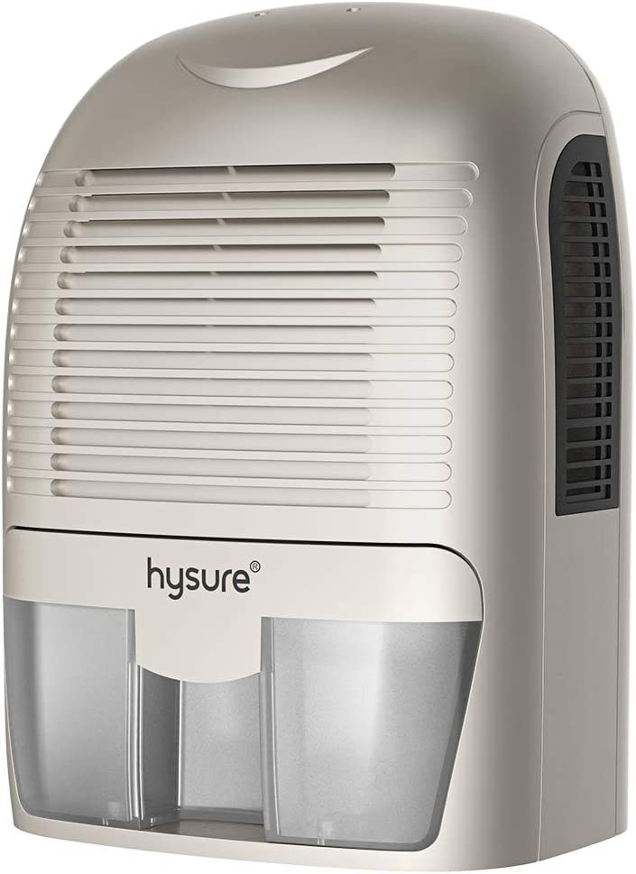 Hysure Quiet and Portable Dehumidifier Electric,Deshumidificador, Home Dehumidifier for Bathroom, Crawl Space, Bedroom, RV, Baby Room, White Silver