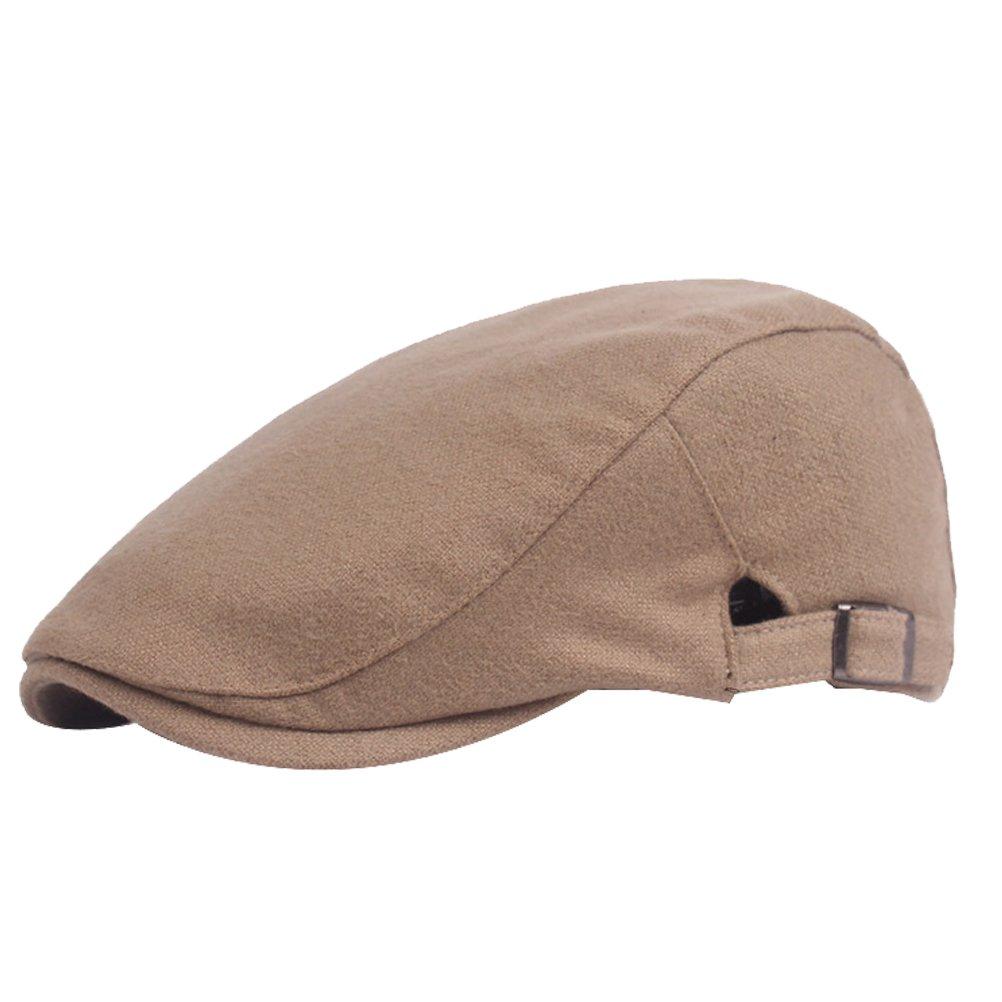 Decou Wool-Feel Cotton Solid Color Newsboy Beret Flat Cap IVY Cap