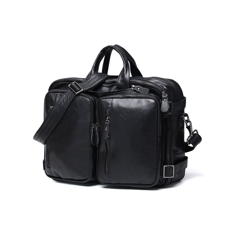 CoCosion Genuine Leather Multifunction Men's Briefcase Backpack Business Bag