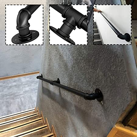 Barandilla de Escalera de Tubo de Hierro Forjado Antideslizante de 3,2 cm, Negro rústico, Pasamanos de Acceso montada en la Pared, barandas de Seguridad para Interiores para Ancianos (1-20ft): Amazon.es: Hogar