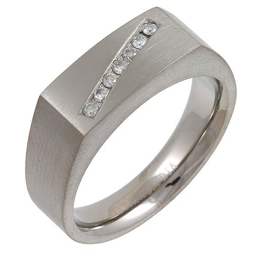 Bague - Anillo de hombre de titanio con 7 diamantes (talla: 13)