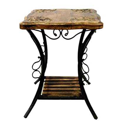 Ck Handicrafts Wrought Iron And Wooden Curve Leg End Side Coffee