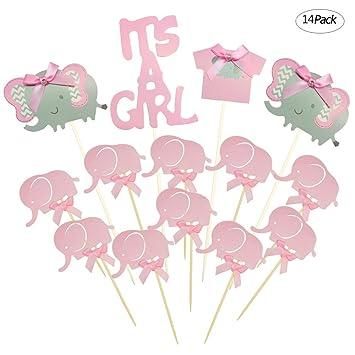 Winko - Decoración para tarta con diseño de elefante rosa para bebé, diseño de púas