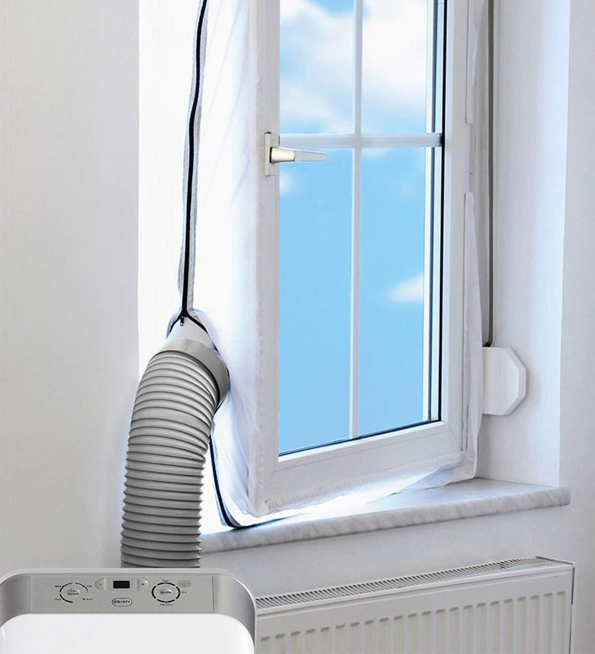 FEICHIDIANCHE AirLock Fensterabdichtung für mobile Klimageräte und Ablufttrockner mit 2 Anschlüssen, Hot Air Stop, 4M (Weiß)