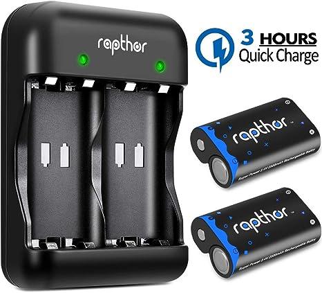 Rapthor Paquete de baterías Xbox One 2x2500mAh Batería recargable y cargador, 3H Carga rápida para Xbox