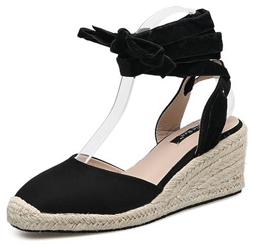 b96b263141c IDIFU Women s Stylish Mid Wedge Heels Self Tie Espadrilles Beach Sandals 8  B(M)