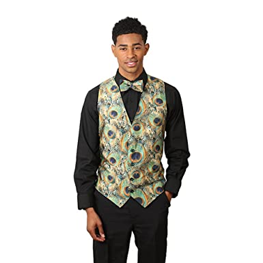 88f89cf24a8a SixStarUniforms Men's Peacock Print Formal Designer Business Suit ...