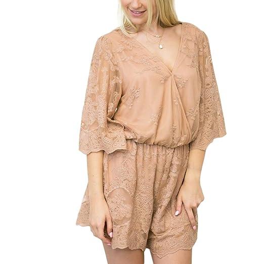 cc7f6f46f244 Amazon.com  YUMDO Women Playsuit Romper Convertible Plunge V Neck  Sleeveless  Clothing