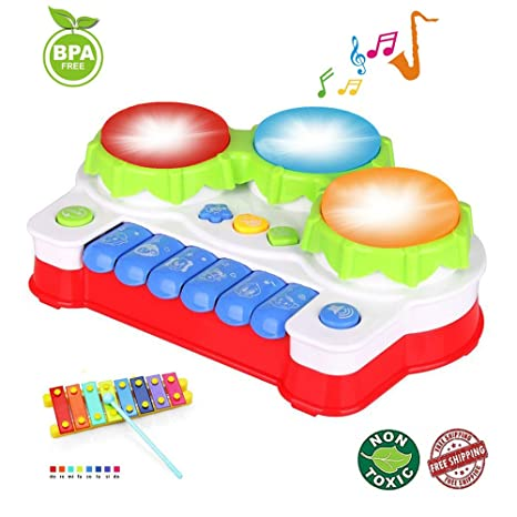 Amazon EXCOUP Baby Drums Musical Toys Piano Gifts For 1