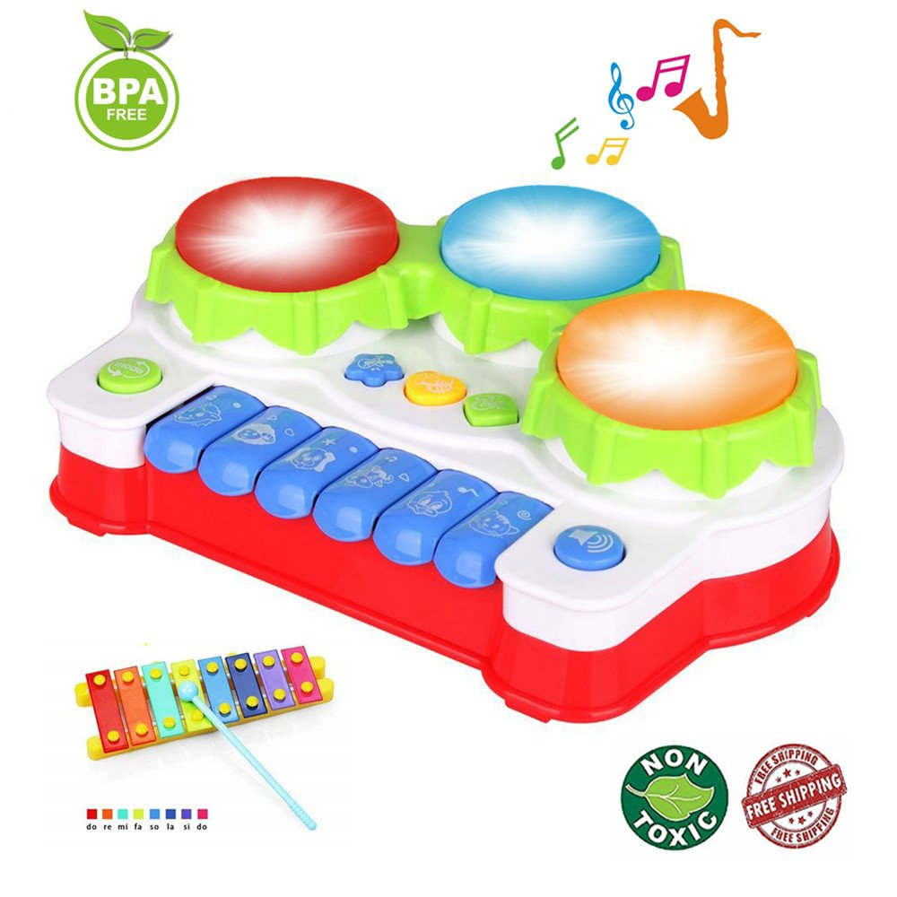 EXCOUP Baby Drums Musical Toys Piano Gifts Toys for 1 Year Old Toddler Keyboard Birthday Festival Gift