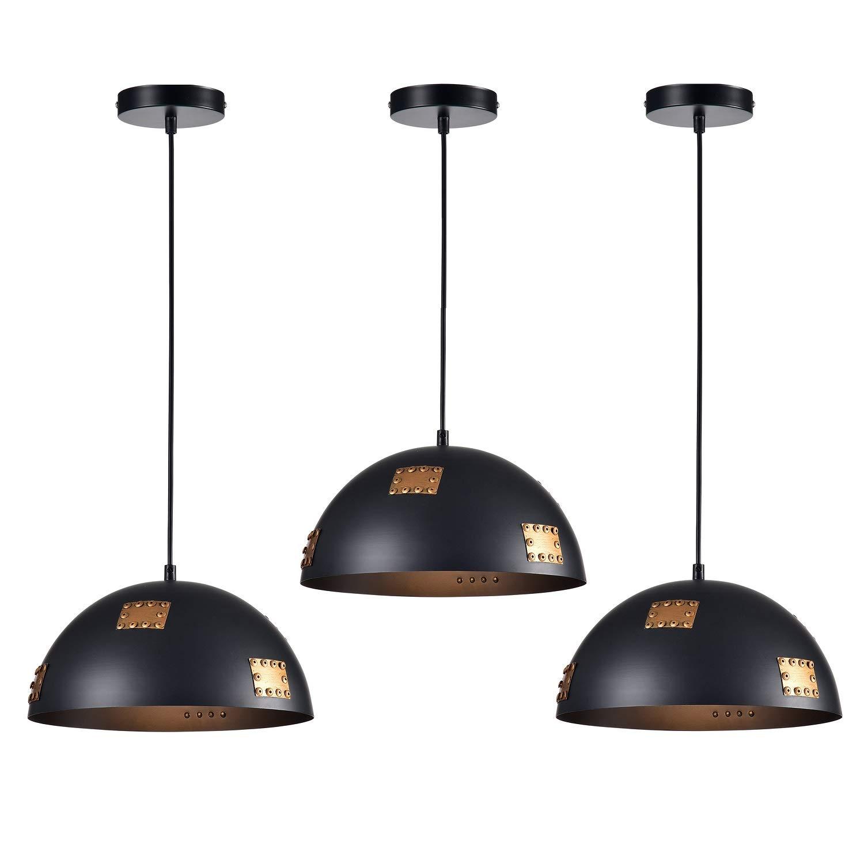 LaLuLa Pendant Light Industrial Pendant Lighting Black Mini Chandeliers 1 Light Ceiling Light Fixture 3 Pack