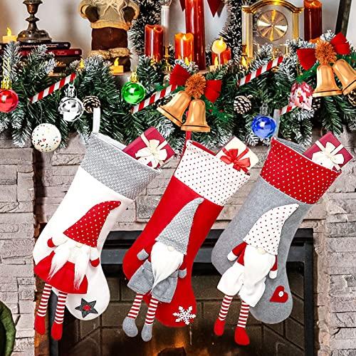 Chaussettes de Noël, Décoration Noël, Lot de 3 Grandes Chaussettes Noël Classiques a Suspendre, Cartoon Chaussettes de Père Noël Barbu, Xmas Sac Cadeau pour Cheminée Vitrine Sac de Bonbons