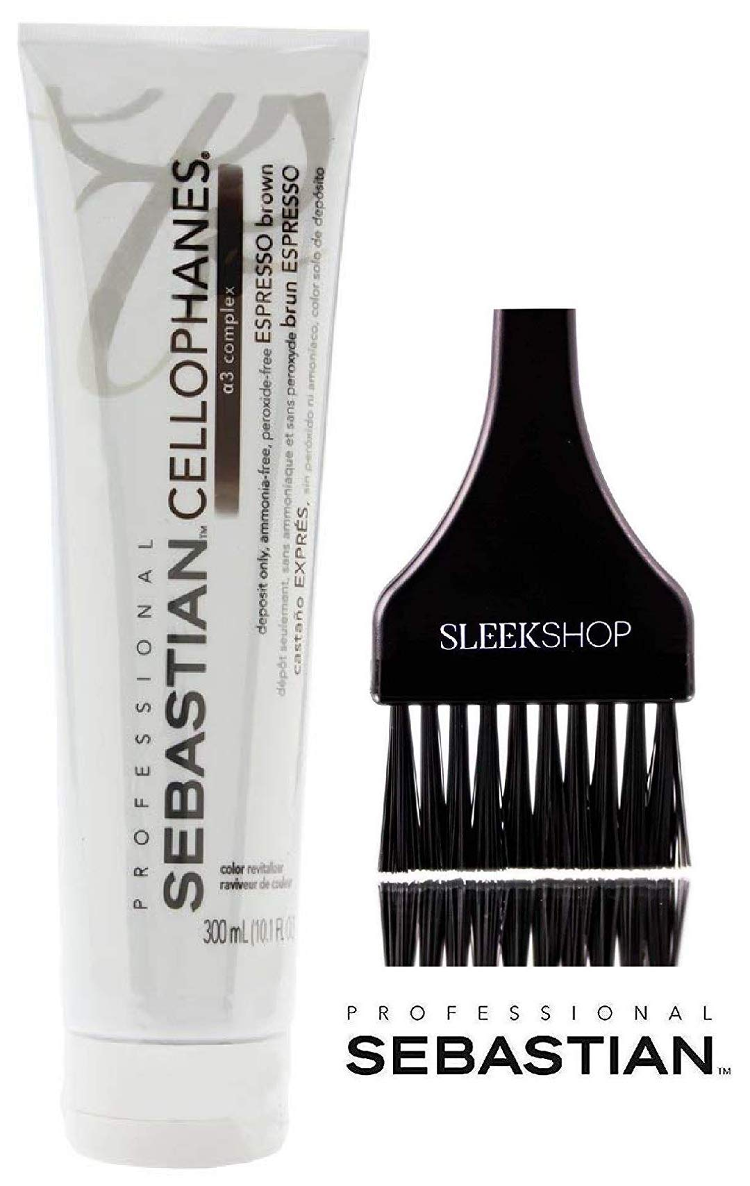 CELLOPHANES ESPRESSO BROWN, Color Revitalizer with A3 Complex, Deposit Only, Ammonia-Free, Peroxide-Free (with Sleek Tint Applicator Brush) (ESPRESSO BROWN - 10.1 oz / 300 ml)