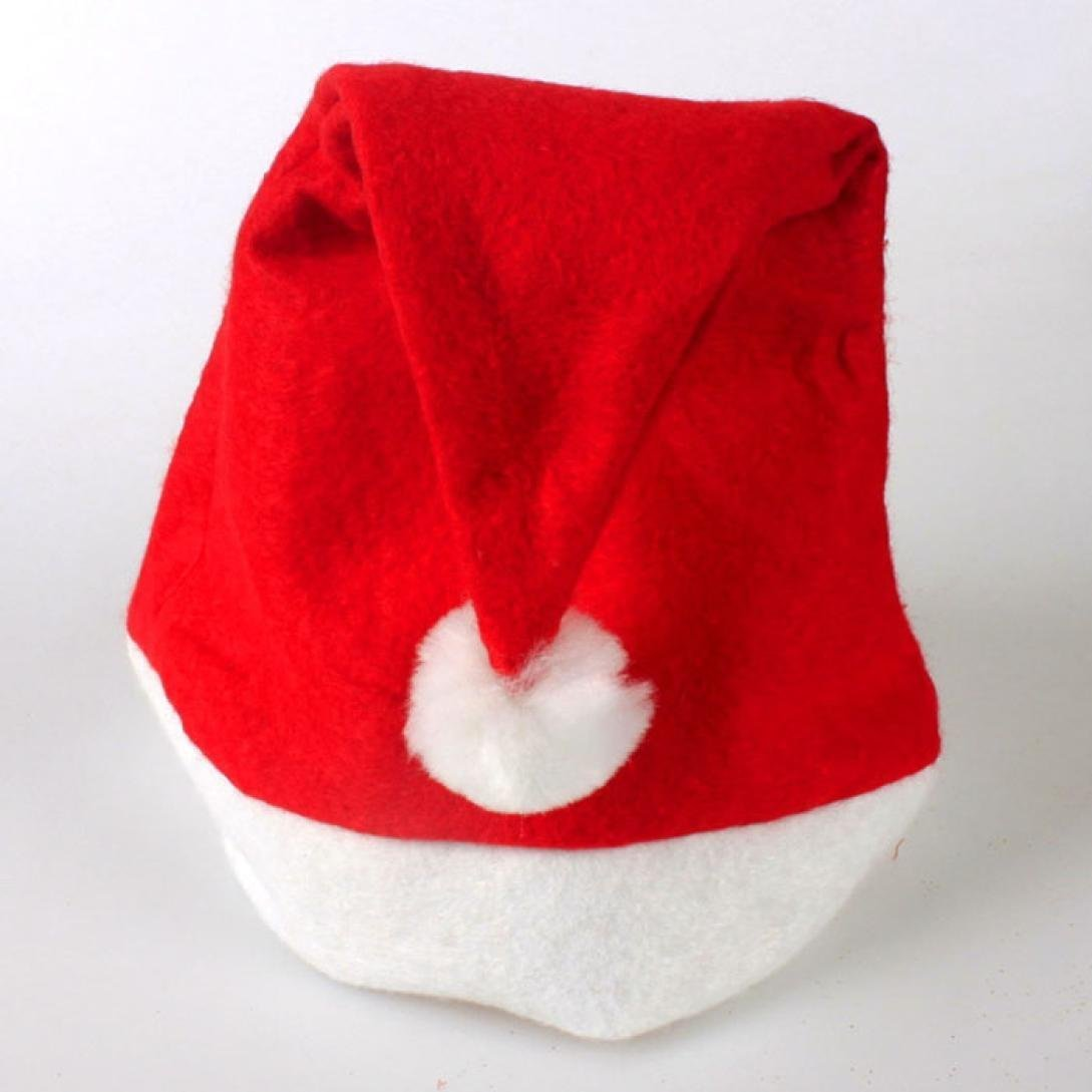 Challen 5 PC Christmas Party Hat Unisex Adult Xmas Red Cap Santa Novelty