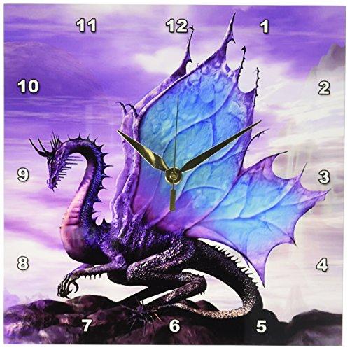 3dRose Fairytale Dragon Wall Clock, 10 by 10-Inch