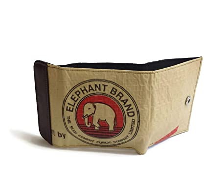 d9aae80946dfb SANGKHUM Damen Slim Wallet  Elephant  - Fairtrade Upcycling Zementsack- Portmonee mit Lederstreifen
