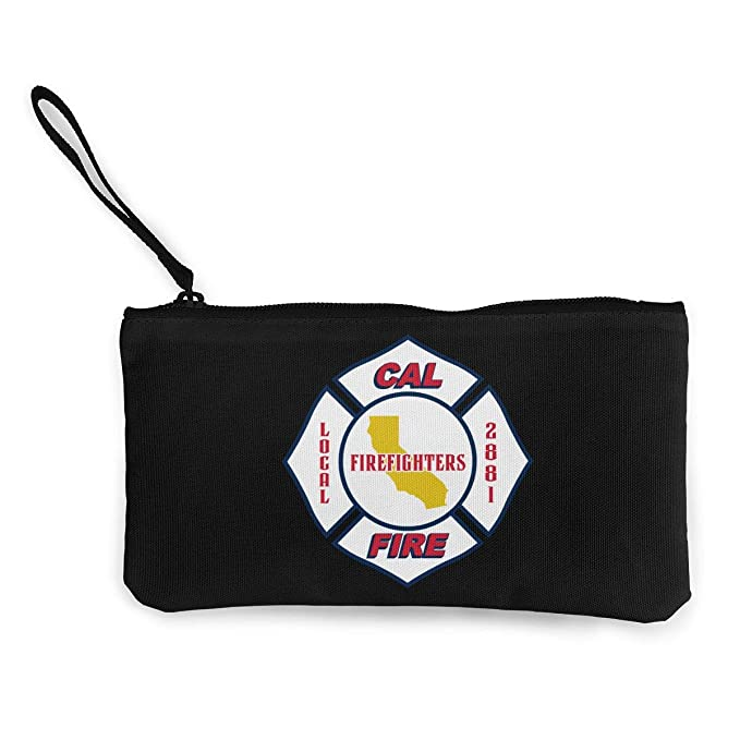 cal fire logo women canvas coin purse zipper pouch cellphone bag
