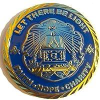"""1.75 """"Conmemorativo Let There Be Light Masonic Lodge Miembro Masones Moneda con estuche"""