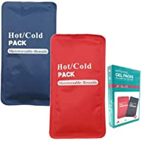"""Pain Relief Flexible Ice Pack for Injuries Hot & Cold Therapy Reusable Gel Pack/Heat Wrap - Great for Back, Waist, Shoulder, Neck, Ankle, Knee and Hip (Large Pack:14"""" X 6"""") (2 Pack)"""
