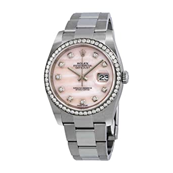 69f3bc24e20 Image Unavailable. Image not available for. Color: Rolex Datejust Pink  Mother of Pearl Diamond Ladies Watch 116244