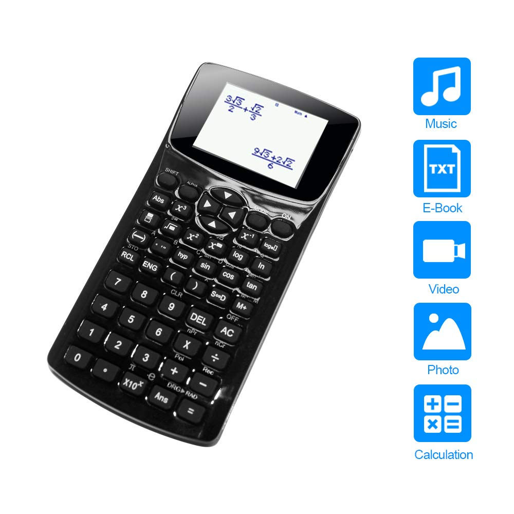 Multifunction Portable Cheating Scientific Calculator Compatible with Music Video Photo TxT E-book Reading Fuctions Student Exam Calculator by Qosun