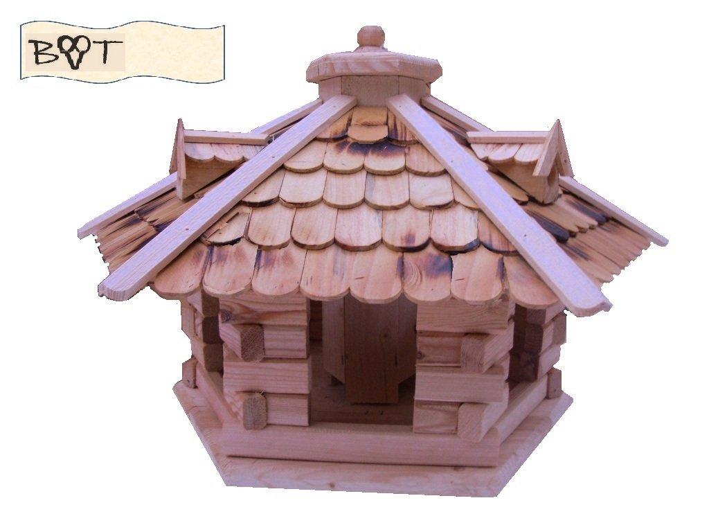 BTV XXL Vogelhaus -Holz Nistkästen & Vogelhäuser- Futterhaus aus Holz Vogelvilla natur hell SG50ngOS geflammt ohne Ständer