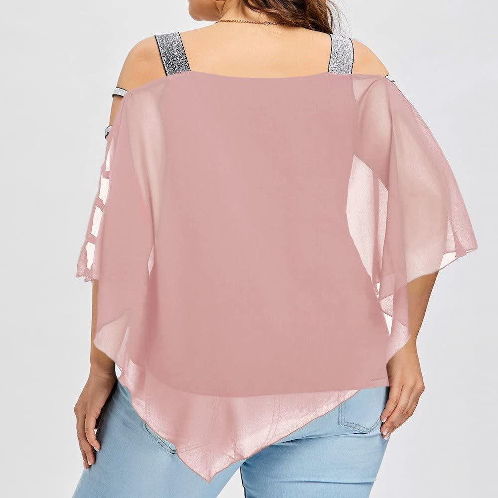 RUIVE Women/'s Chiffon Blouse Ladder Cut Overlay Asymmetric Off Shoulder Sequin Strappy Pullover Ladies Loose Tops