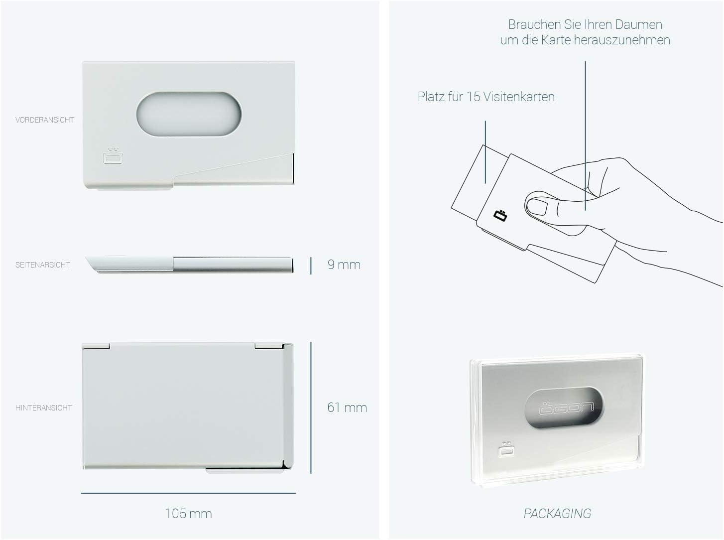 Jusqu/à 15 Cartes /ÖGON Smart Wallets Porte-Cartes de Visite One Touch Aluminium anodis/é Bleu