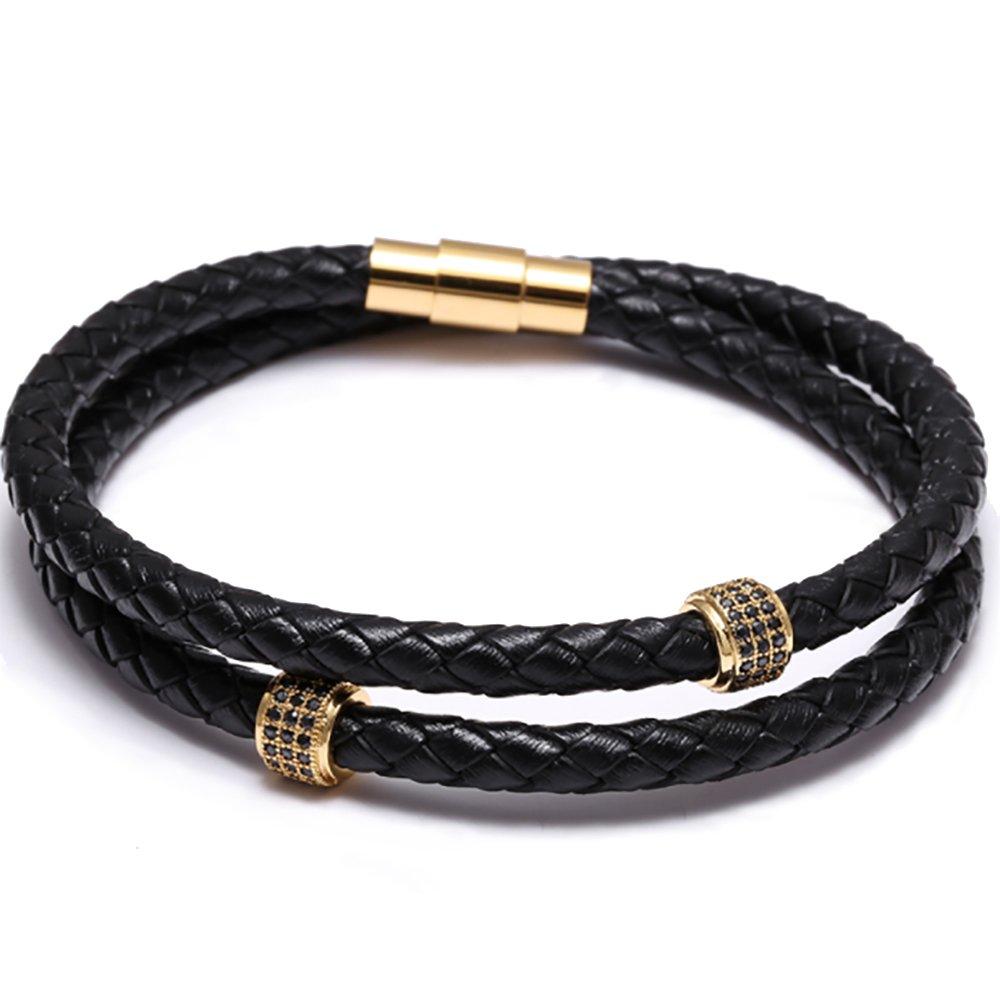 Meangel Mens Bracelet Stainless Steel Black Leather Bracelet Wristband Bangle Punk Style Fashion Jewlery Magnetic Clasp
