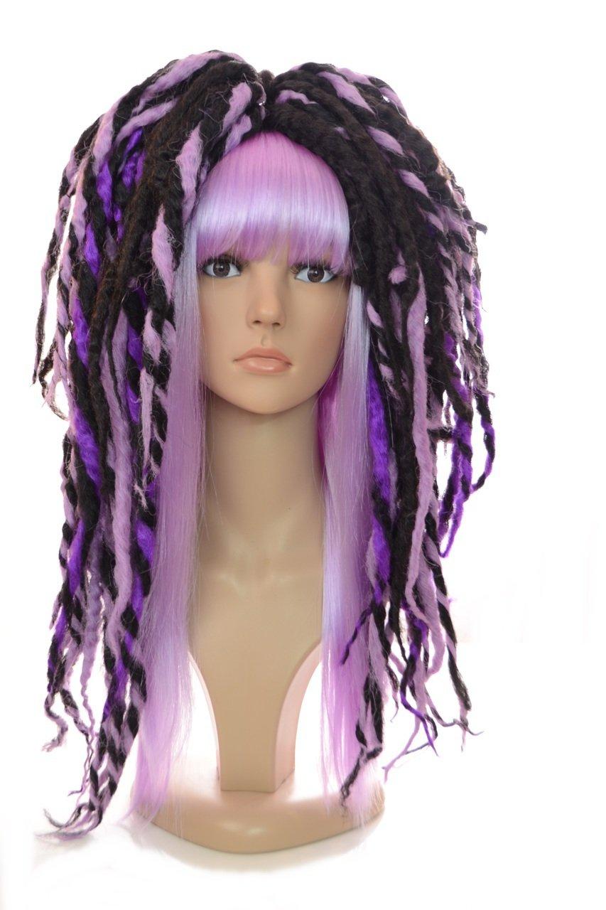 Lottie Purple and Black Long Dreadlock Ponytail Wig | Cybergoth Cosplay Style