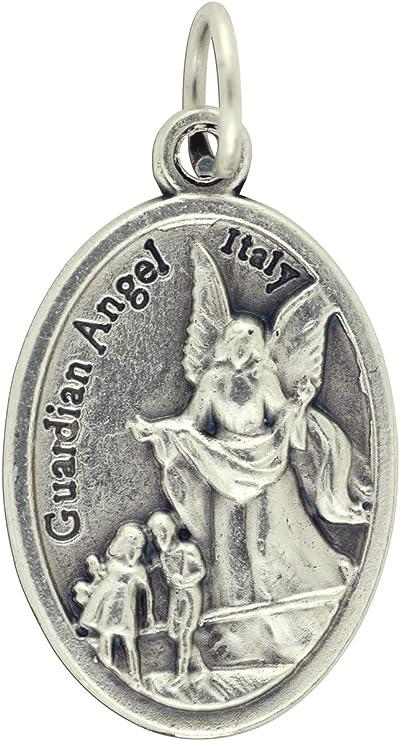 Oxidised Metal Guardian Angel Pendant Charm Religious Gift