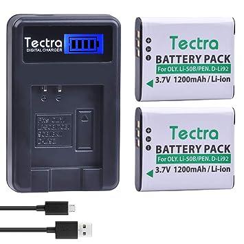 Amazon.com: Tectra - 2 baterías de 1200 mAh + cargador LCD ...