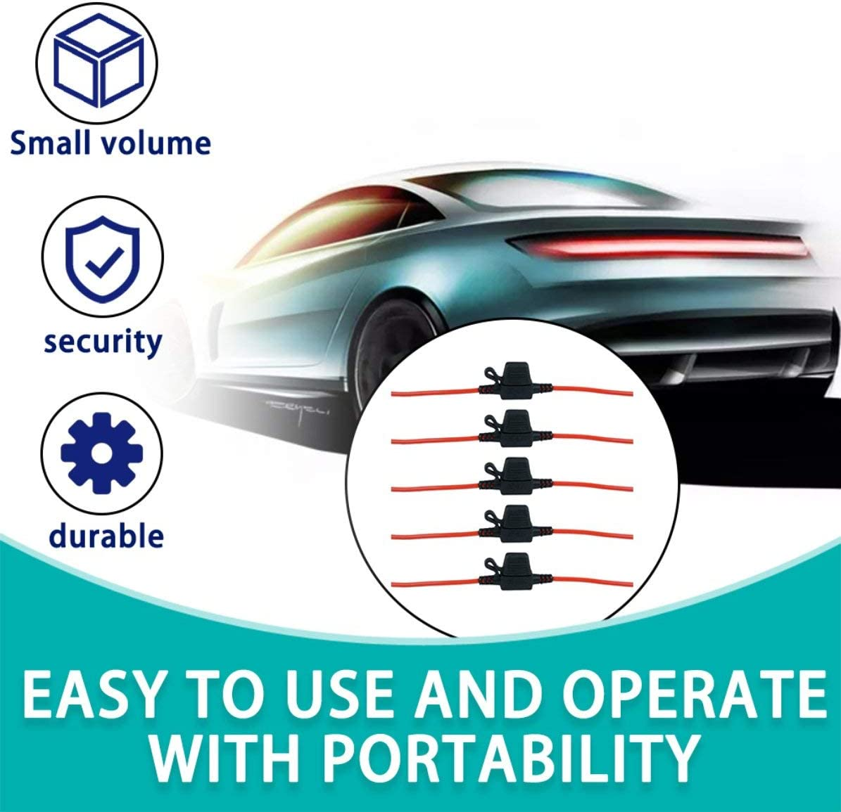 5 x Portafusibili mini lama in linea antispruzzo per fusibili 12V 20A Supporto nero per auto con filo rosso