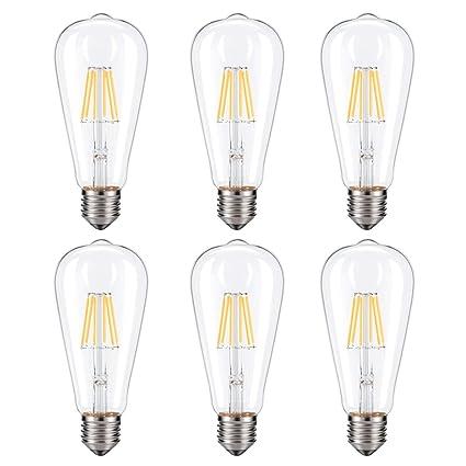 Vintage Edison Bombilla LED, CMYK regulable 6 W ST64 antiguo LED bombilla filamento de jaula