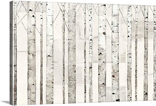 Birch Trees on White Canvas Wall Art Print