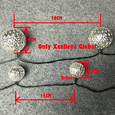 Xcellent Global 2 Modes Warm White LED String Lights Yellow Moroccan Metal Lanterns Tree Ornament for Outdoor, Gardens, Homes, Wedding