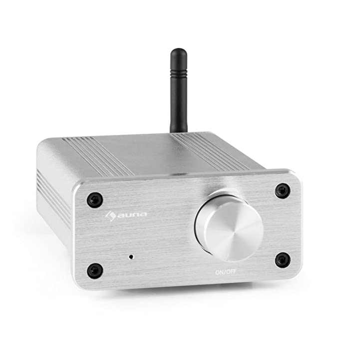 auna BT-Bro Mini Stereo Amplifier Class-D Bluetooth Aluminium () Silver