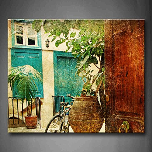 First Wall Art - Greek Villages Artwork In Retro Style With Bike And Old Vase Wall Art Painting Pictures Print On Canvas Architecture The Picture For Home Modern Decoration (Stretched (Greek Art Vases)