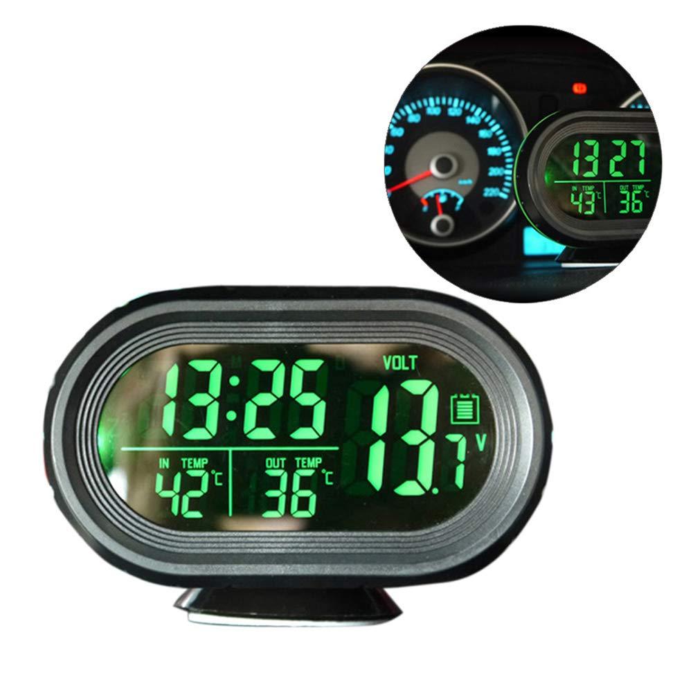 mit Nachtlicht blau Thermometer mit Wecker Spannung 12 V-24 V Grizack Digitaler LCD-Monitor