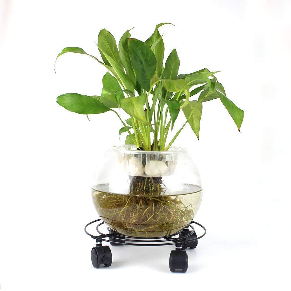 TOOGOO Metal Plant Flower Pot Stand Trolley Caddy on Wheels Indoor Outdoor Home Garden Tools