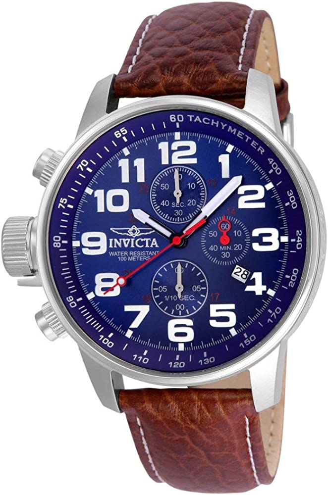 Invicta Men s 3328 Force Collection Stainless Steel Left-Handed Watch with Leather Band, Brown Blue Dial