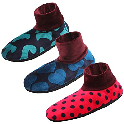 3 Pairs Womens Slipper Indoor Shoes Home Shoes Non Skid House Hospital Slipper Fit Shoe Size US 5-9 Random Designs: Clothing