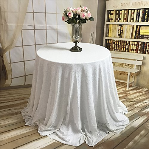 TRLYC Christmas White Round Sequin Tablecloth for Wedding Pa