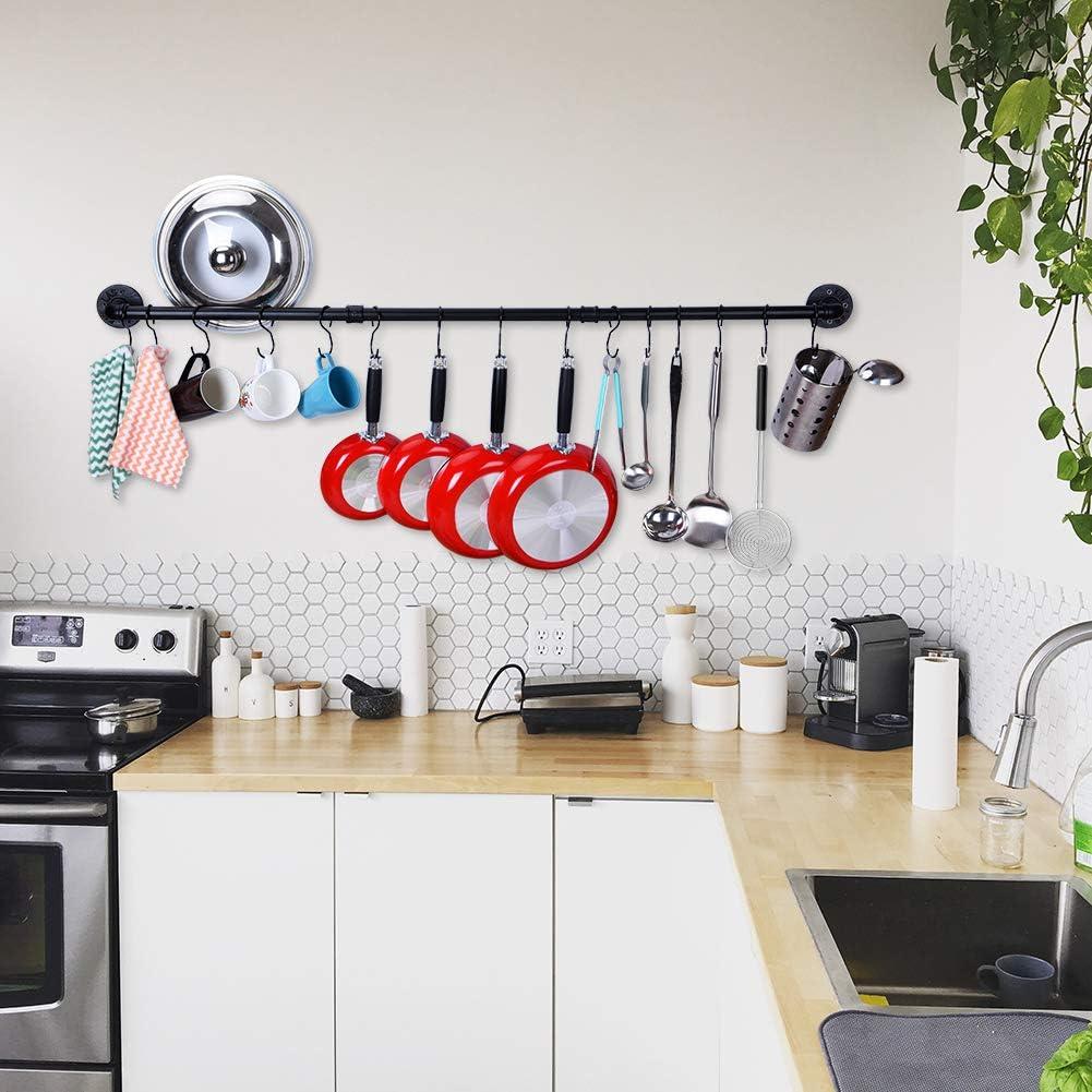 Estante Para Ollas en la Pared con 15 Ganchos Colgador Organizador de Ollas y Sartenes de Color Negro Barra Cocina Utensilios 128 cm
