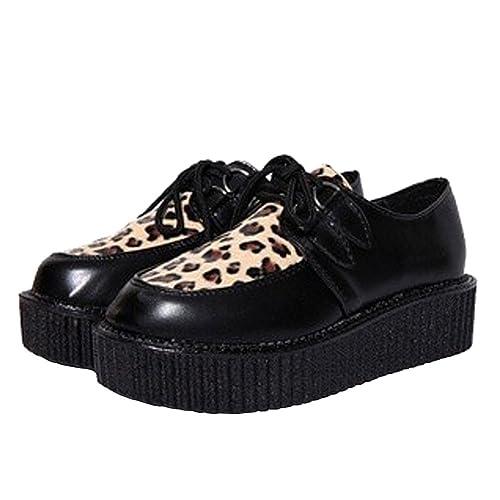 161beb027 wealsex Chaussure à Lacet Cuir Plate-Forme Semelle Epais Derby ...